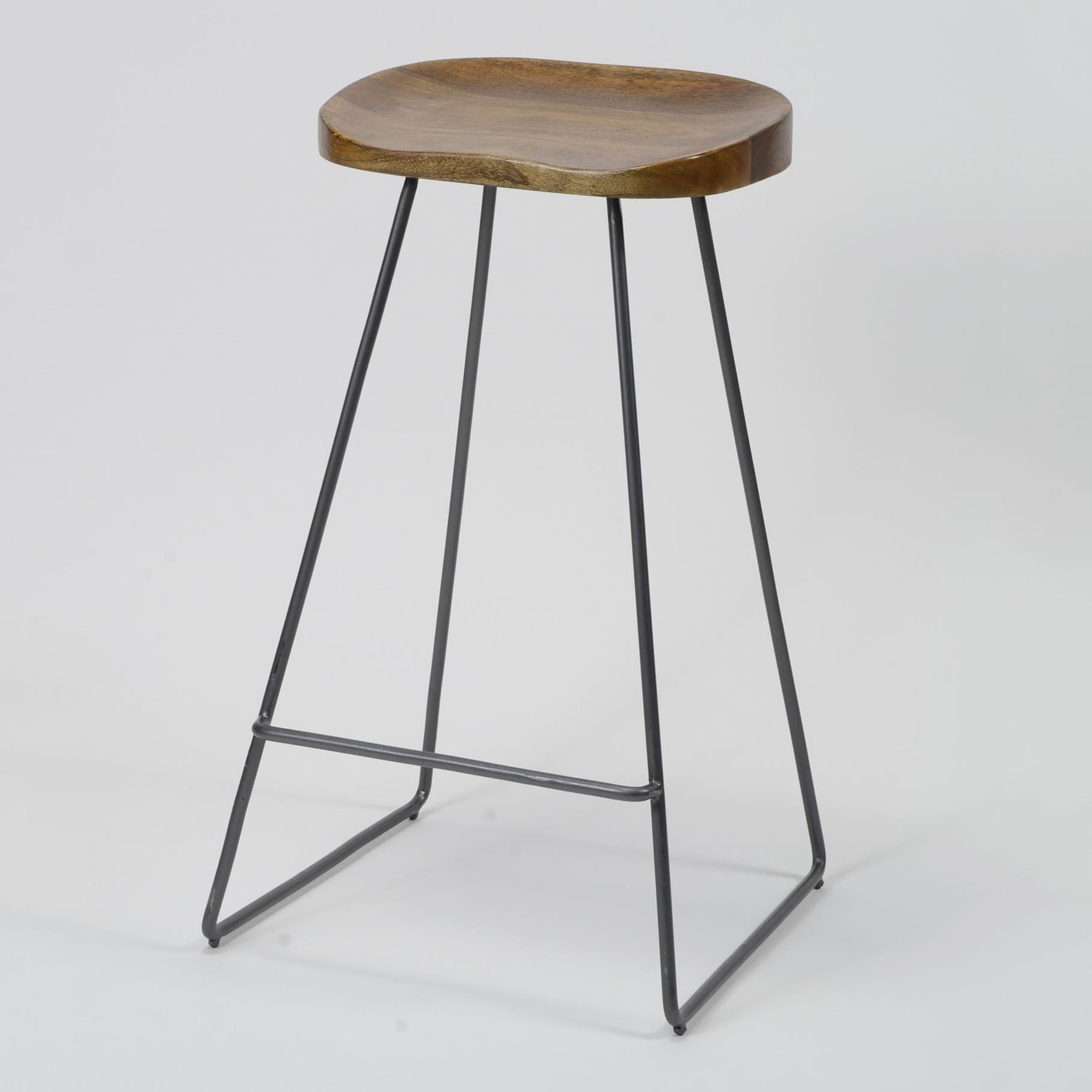 Industriele Barkruk 'DeAndre' met houten zitting (zithoogte 69cm)