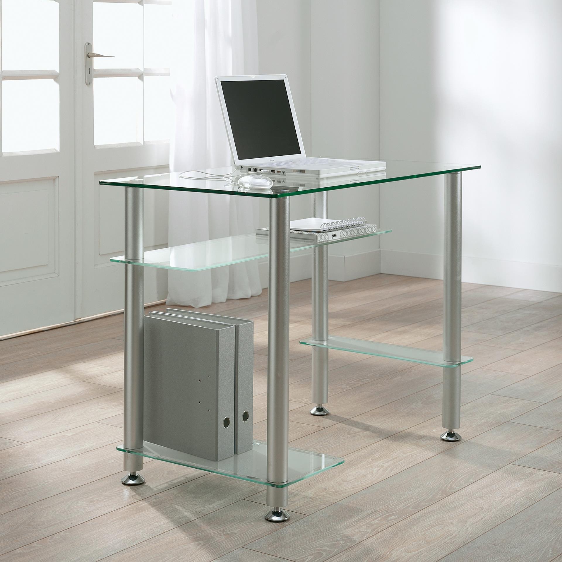 Glazen Computer Meubel.Glazen Bureau Johnson