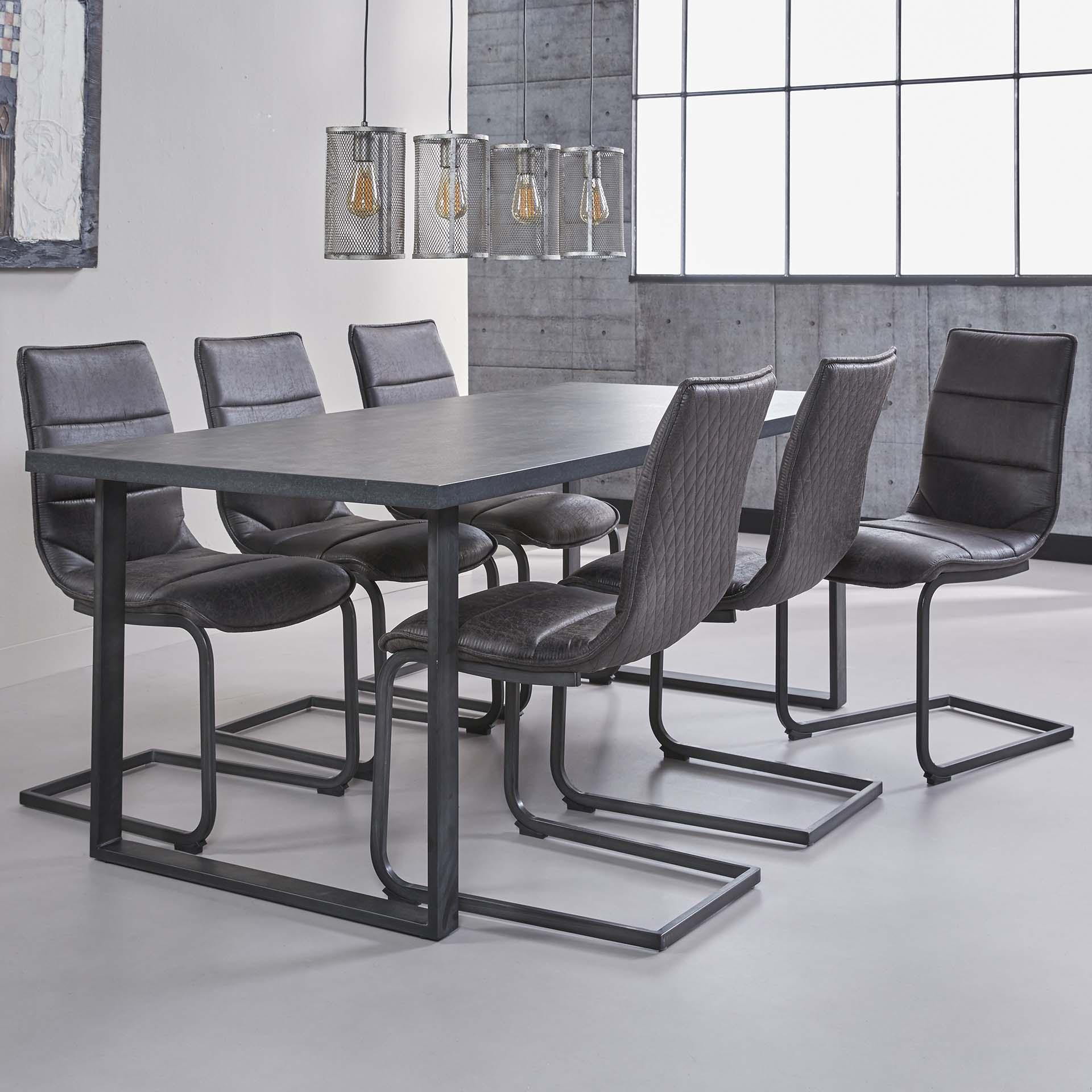 Eettafel 'Alan' zwart/bruin 190 x 90cm
