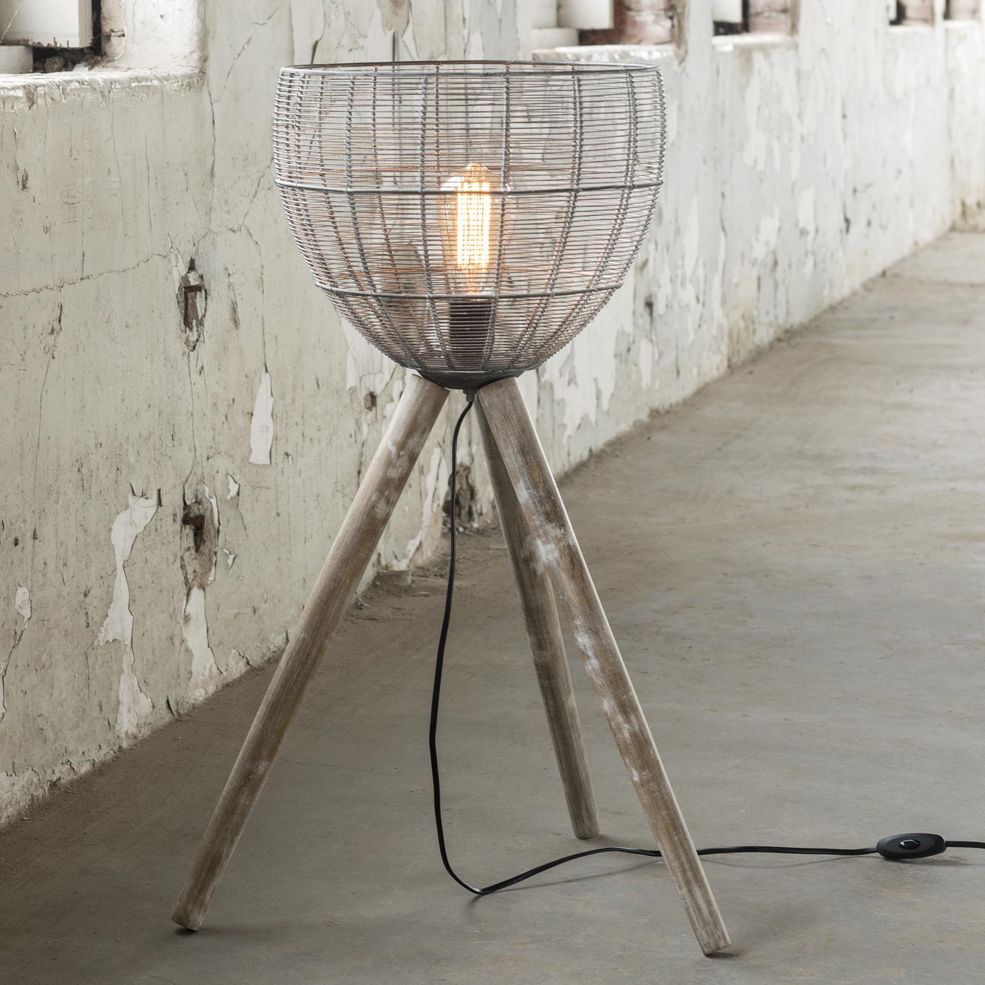 retro vloerlamp / tafellamp Clementine driepoot met korf