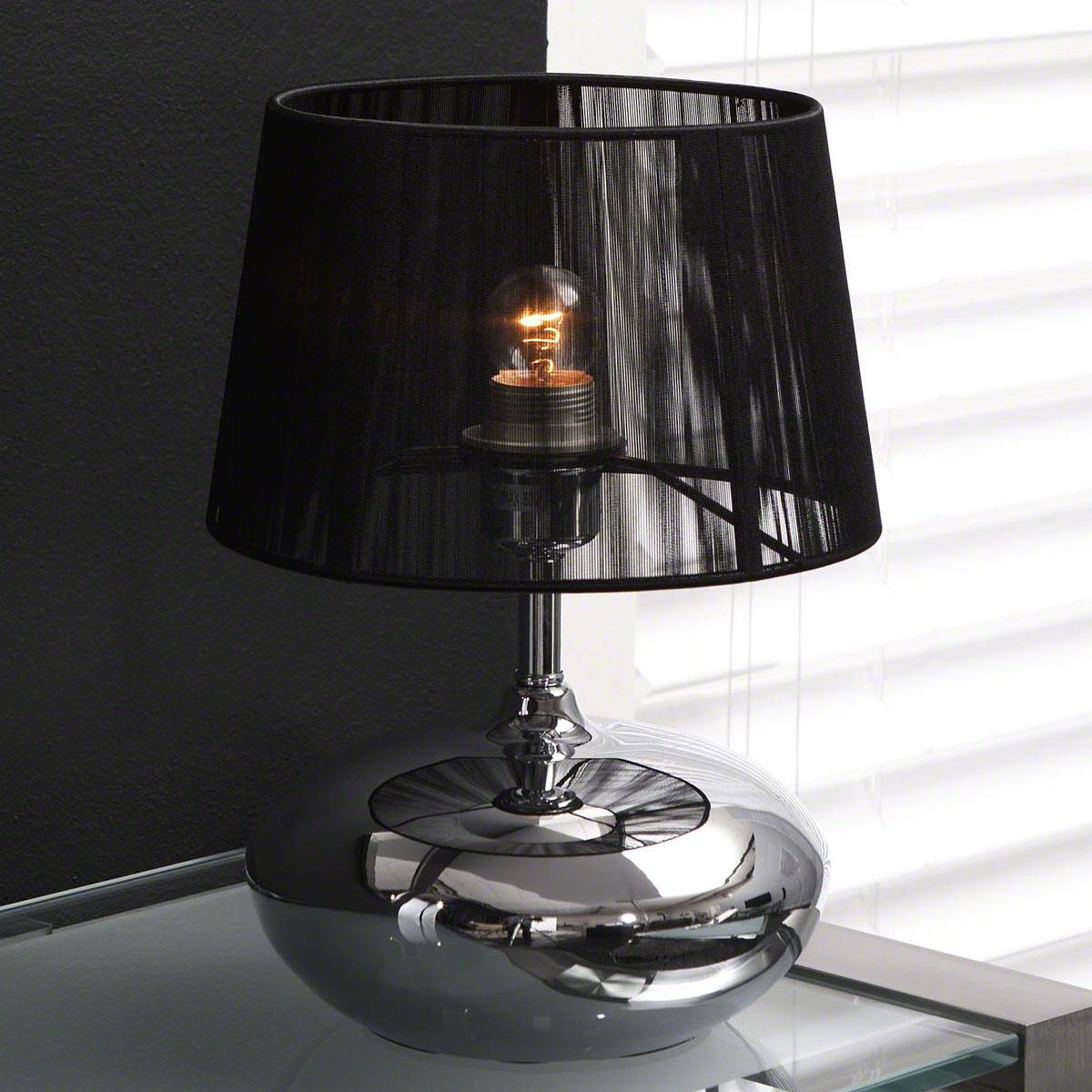 design tafellamp Takako 1 Lamps chroom met zwarte kap